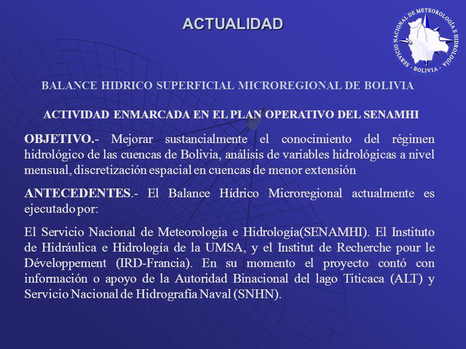 BALANCE HIDRICO SUPERFICIAL MICROREGIONAL DE BOLIVIA ACTUALIDAD OBJETIVO.- Mejorar sustancialmente el conocimiento del régimen hidrológico de las cuen