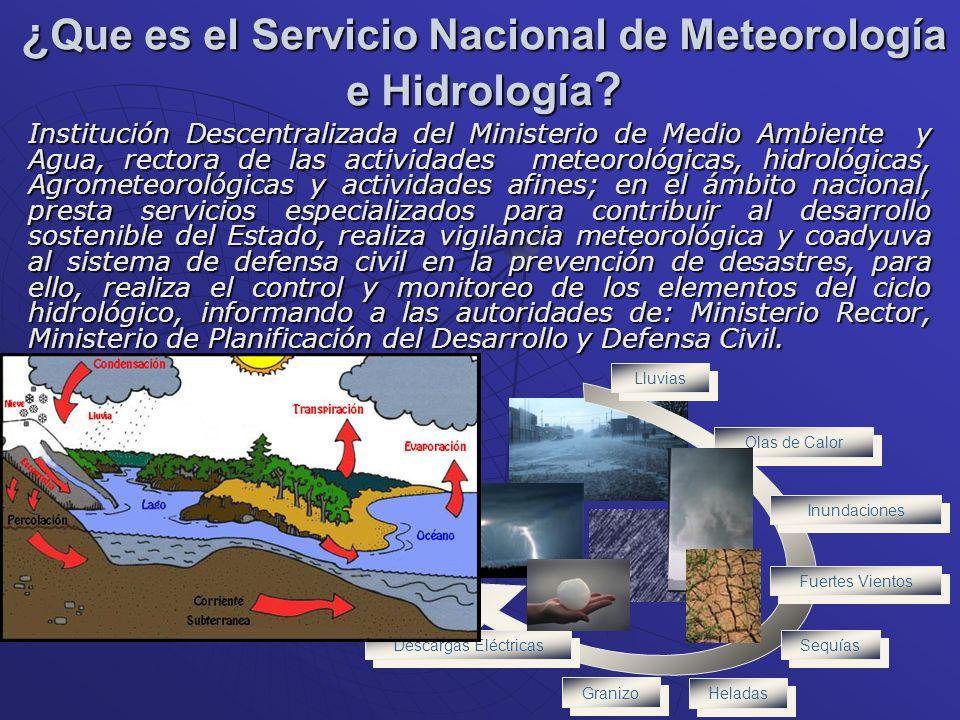 ¿ Que es el Servicio Nacional de Meteorología e Hidrología ? Institución Descentralizada del Ministerio de Medio Ambiente y Agua, rectora de las activ