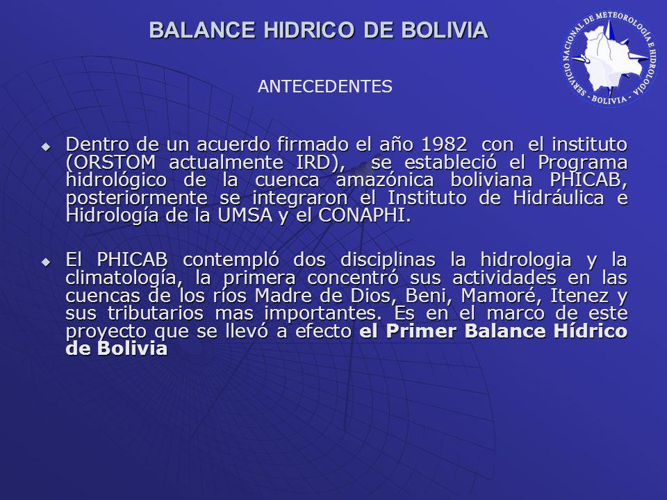 BALANCE HIDRICO DE BOLIVIA Dentro de un acuerdo firmado el año 1982 con el instituto (ORSTOM actualmente IRD), se estableció el Programa hidrológico d