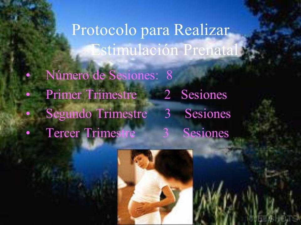Protocolo para Realizar Estimulación Prenatal Número de Sesiones: 8 Primer Trimestre 2 Sesiones Segundo Trimestre 3 Sesiones Tercer Trimestre 3 Sesion