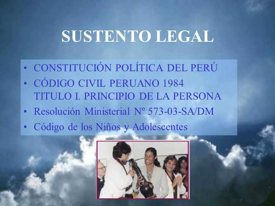 SUSTENTO LEGAL CONSTITUCIÓN POLÍTICA DEL PERÚ CÓDIGO CIVIL PERUANO 1984 TITULO I. PRINCIPIO DE LA PERSONA Resolución Ministerial Nº 573-03-SA/DM Códig