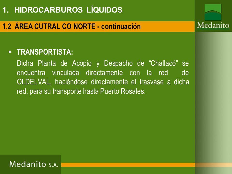 1. HIDROCARBUROS LÍQUIDOS TRANSPORTISTA: Dicha Planta de Acopio y Despacho de Challacó se encuentra vinculada directamente con la red de OLDELVAL, hac