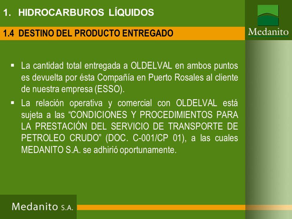 1. HIDROCARBUROS LÍQUIDOS La cantidad total entregada a OLDELVAL en ambos puntos es devuelta por ésta Compañía en Puerto Rosales al cliente de nuestra