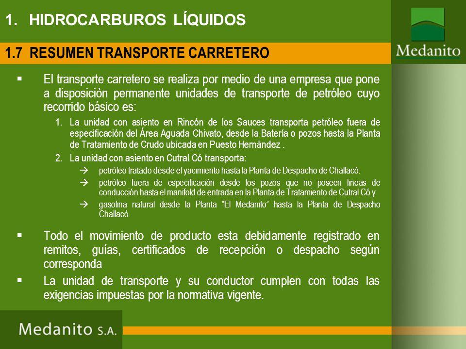 1. HIDROCARBUROS LÍQUIDOS 1.7 RESUMEN TRANSPORTE CARRETERO El transporte carretero se realiza por medio de una empresa que pone a disposiciòn permanen