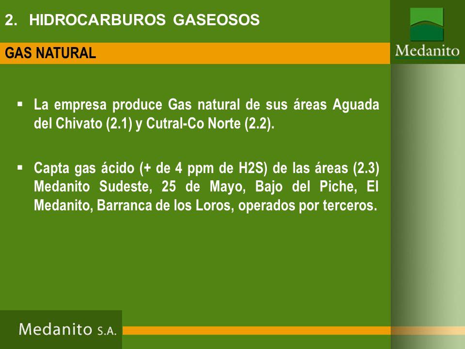2. HIDROCARBUROS GASEOSOS La empresa produce Gas natural de sus áreas Aguada del Chivato (2.1) y Cutral-Co Norte (2.2). Capta gas ácido (+ de 4 ppm de