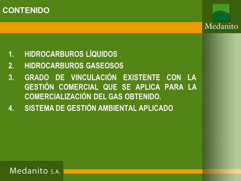CONTENIDO 1.HIDROCARBUROS LÍQUIDOS 2.HIDROCARBUROS GASEOSOS 3.GRADO DE VINCULACIÓN EXISTENTE CON LA GESTIÓN COMERCIAL QUE SE APLICA PARA LA COMERCIALI