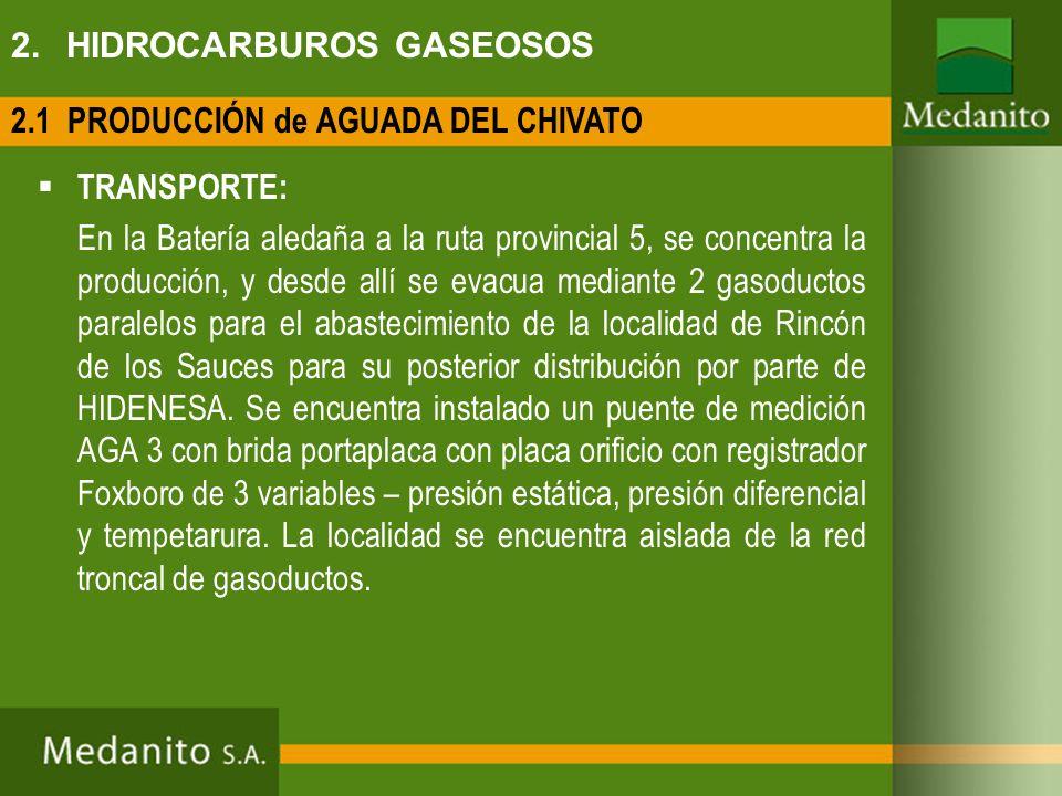 TRANSPORTE: En la Batería aledaña a la ruta provincial 5, se concentra la producción, y desde allí se evacua mediante 2 gasoductos paralelos para el a