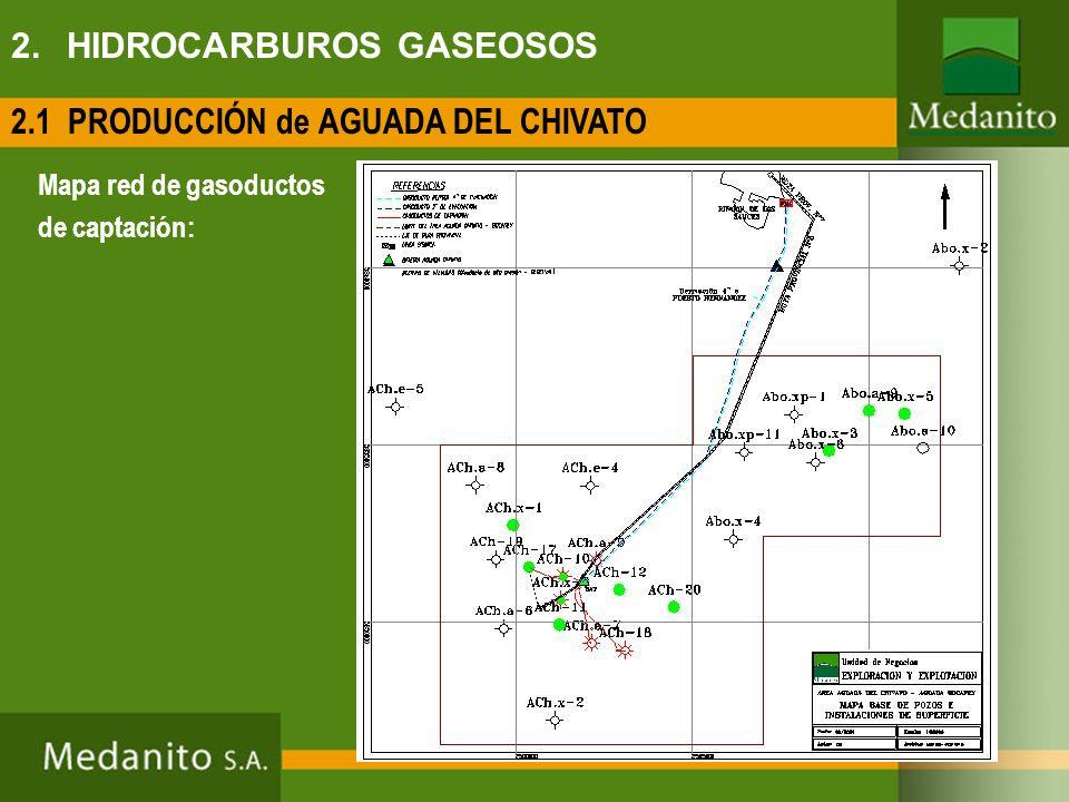Mapa red de gasoductos de captación: 2.1 PRODUCCIÓN de AGUADA DEL CHIVATO 2. HIDROCARBUROS GASEOSOS