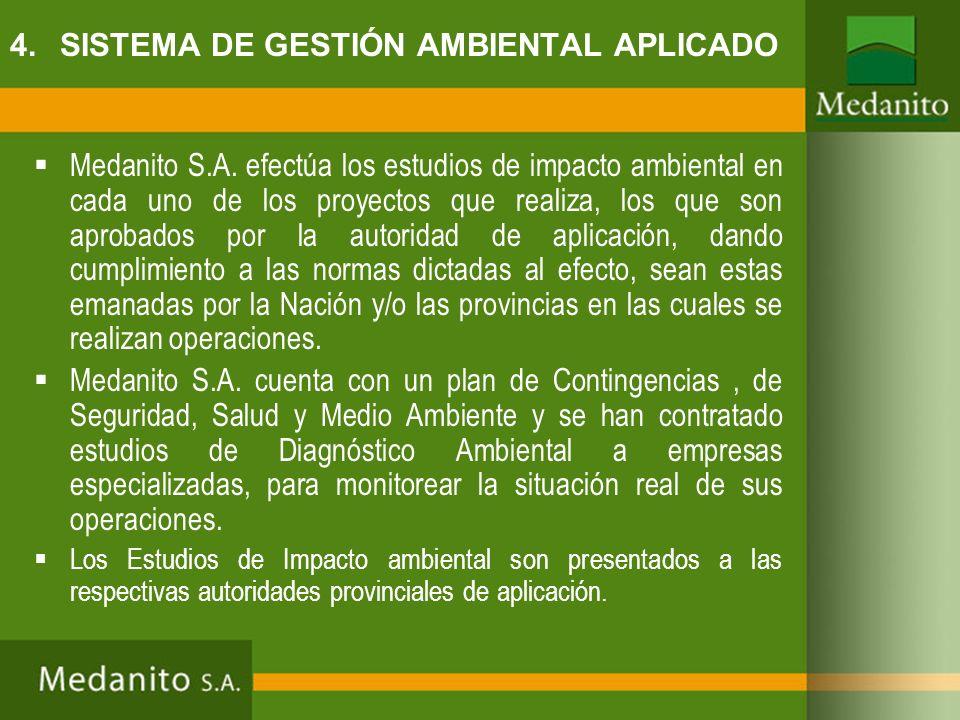 Medanito S.A. efectúa los estudios de impacto ambiental en cada uno de los proyectos que realiza, los que son aprobados por la autoridad de aplicación