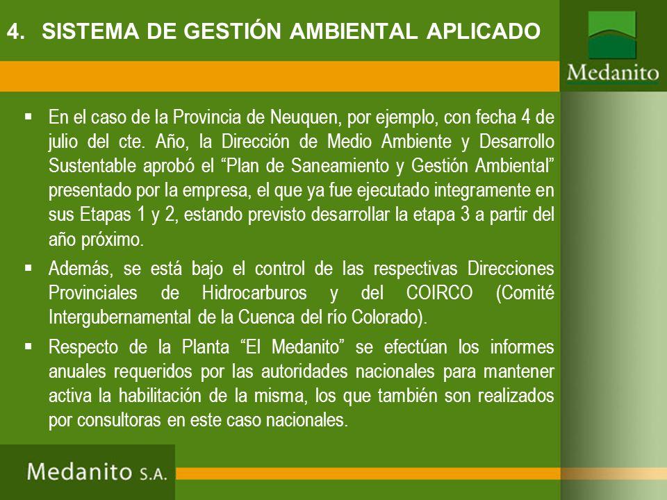 En el caso de la Provincia de Neuquen, por ejemplo, con fecha 4 de julio del cte. Año, la Dirección de Medio Ambiente y Desarrollo Sustentable aprobó