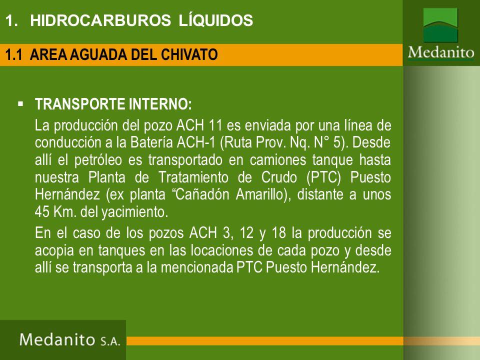 1. HIDROCARBUROS LÍQUIDOS TRANSPORTE INTERNO: La producción del pozo ACH 11 es enviada por una línea de conducción a la Batería ACH-1 (Ruta Prov. Nq.