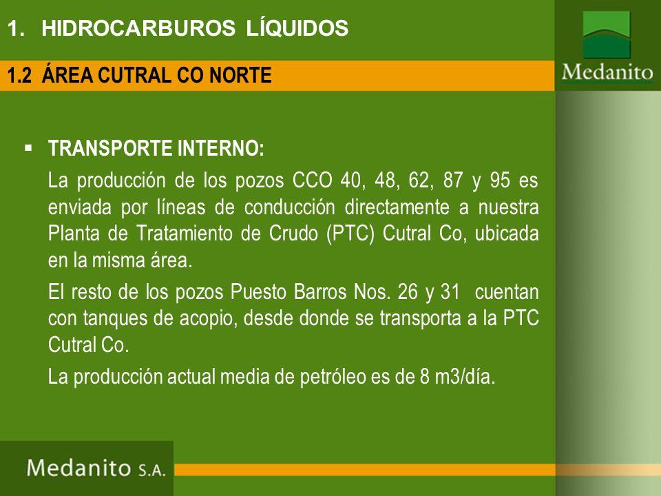 1. HIDROCARBUROS LÍQUIDOS TRANSPORTE INTERNO: La producción de los pozos CCO 40, 48, 62, 87 y 95 es enviada por líneas de conducción directamente a nu