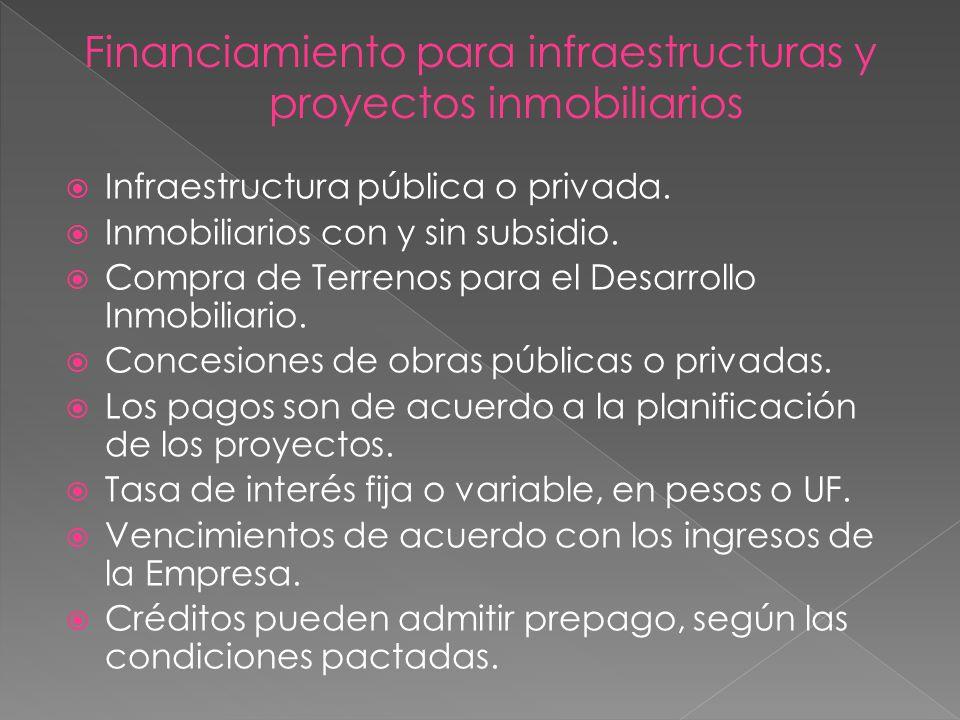 Infraestructura pública o privada. Inmobiliarios con y sin subsidio. Compra de Terrenos para el Desarrollo Inmobiliario. Concesiones de obras públicas