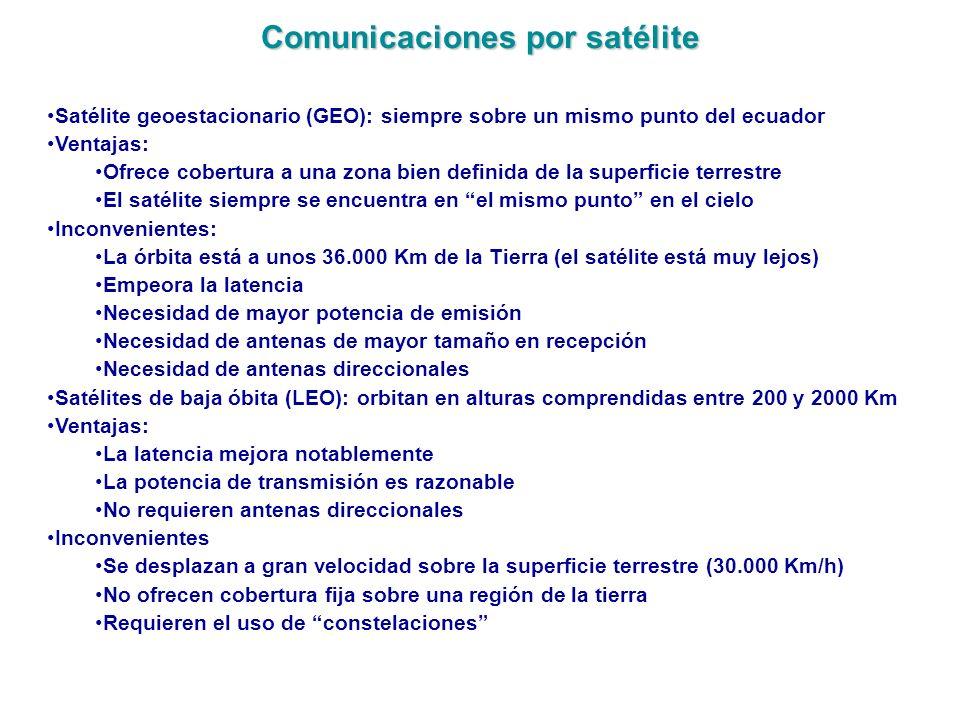 Comunicaciones por satélite Satélite geoestacionario (GEO): siempre sobre un mismo punto del ecuador Ventajas: Ofrece cobertura a una zona bien defini