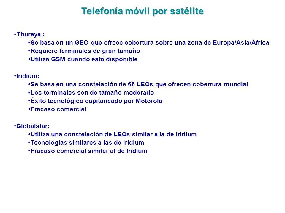 Telefonía móvil por satélite Thuraya : Se basa en un GEO que ofrece cobertura sobre una zona de Europa/Asia/África Requiere terminales de gran tamaño