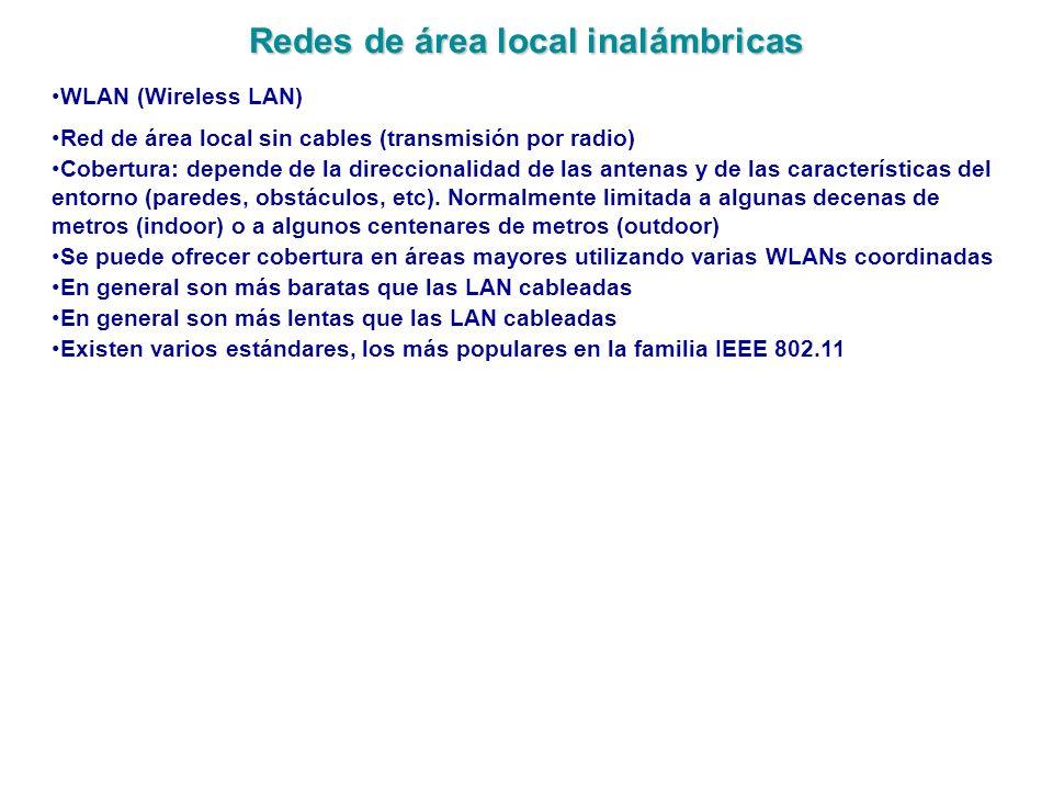 Redes de área local inalámbricas WLAN (Wireless LAN) Red de área local sin cables (transmisión por radio) Cobertura: depende de la direccionalidad de