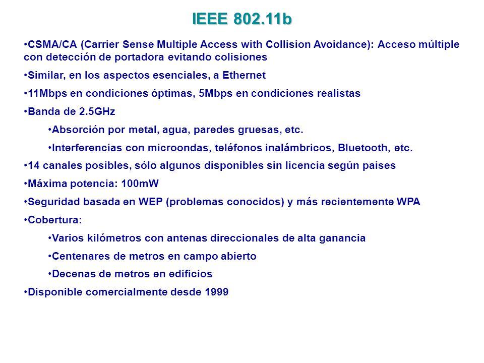 IEEE 802.11b CSMA/CA (Carrier Sense Multiple Access with Collision Avoidance): Acceso múltiple con detección de portadora evitando colisiones Similar,