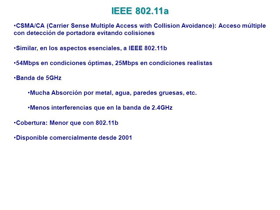 IEEE 802.11a CSMA/CA (Carrier Sense Multiple Access with Collision Avoidance): Acceso múltiple con detección de portadora evitando colisiones Similar,