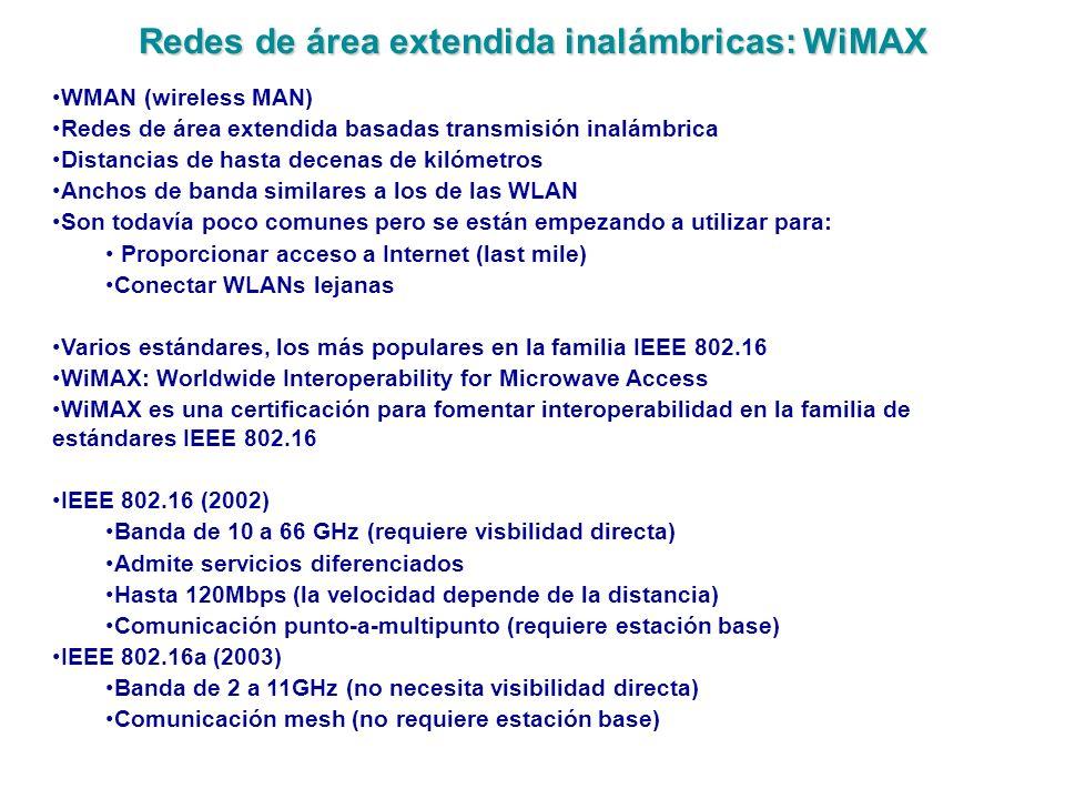 Redes de área extendida inalámbricas: WiMAX WMAN (wireless MAN) Redes de área extendida basadas transmisión inalámbrica Distancias de hasta decenas de