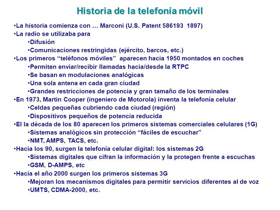 Historia de la telefonía móvil La historia comienza con … Marconi (U.S. Patent 586193 1897) La radio se utilizaba para Difusión Comunicaciones restrin