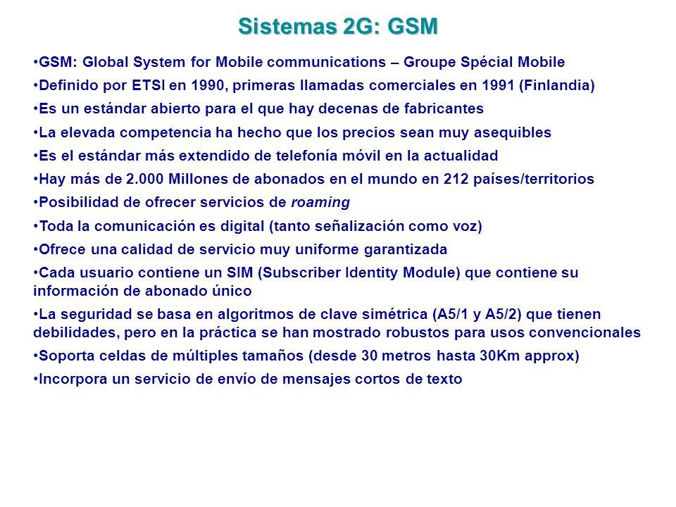 Sistemas 2G: GSM GSM: Global System for Mobile communications – Groupe Spécial Mobile Definido por ETSI en 1990, primeras llamadas comerciales en 1991