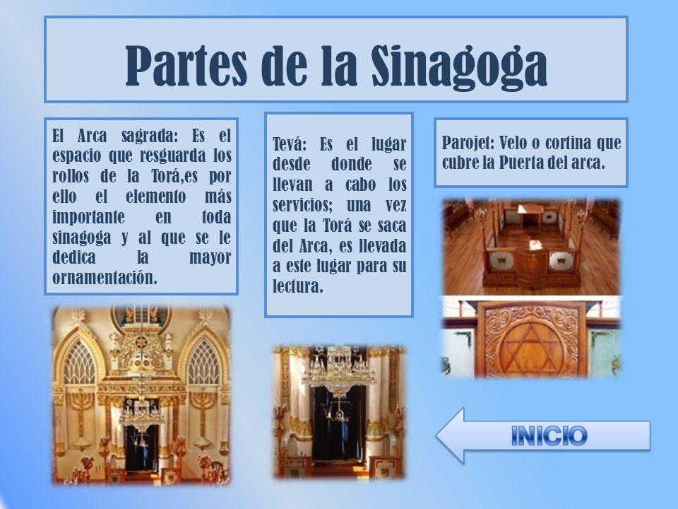 Partes de la Sinagoga El Arca sagrada: Es el espacio que resguarda los rollos de la Torá,es por ello el elemento más importante en toda sinagoga y al que se le dedica la mayor ornamentación.