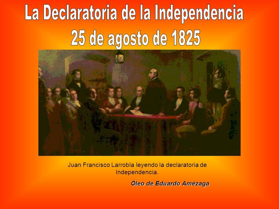 Juan Francisco Larrobla leyendo la declaratoria de Independencia. Óleo de Eduardo Amézaga