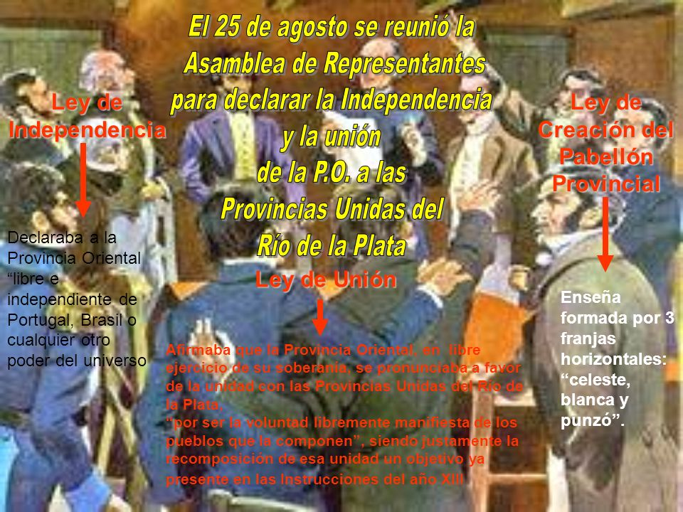 Ley de Independencia Ley de Unión Ley de Creación del Pabellón Provincial Declaraba a la Provincia Oriental libre e independiente de Portugal, Brasil
