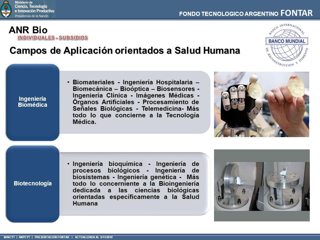 MINCYT | ANPCYT | PRESENTACION FONTAR | ACTUALIZADA AL 5/11/2010 FONDO TECNOLOGICO ARGENTINO FONTAR ANR Bio Campos de Aplicación orientados a Salud Humana Biomateriales - Ingeniería Hospitalaria – Biomecánica – Bioóptica – Biosensores - Ingeniería Clínica - Imágenes Médicas - Órganos Artificiales - Procesamiento de Señales Biológicas - Telemedicina- Más todo lo que concierne a la Tecnología Médica.Biomateriales - Ingeniería Hospitalaria – Biomecánica – Bioóptica – Biosensores - Ingeniería Clínica - Imágenes Médicas - Órganos Artificiales - Procesamiento de Señales Biológicas - Telemedicina- Más todo lo que concierne a la Tecnología Médica.