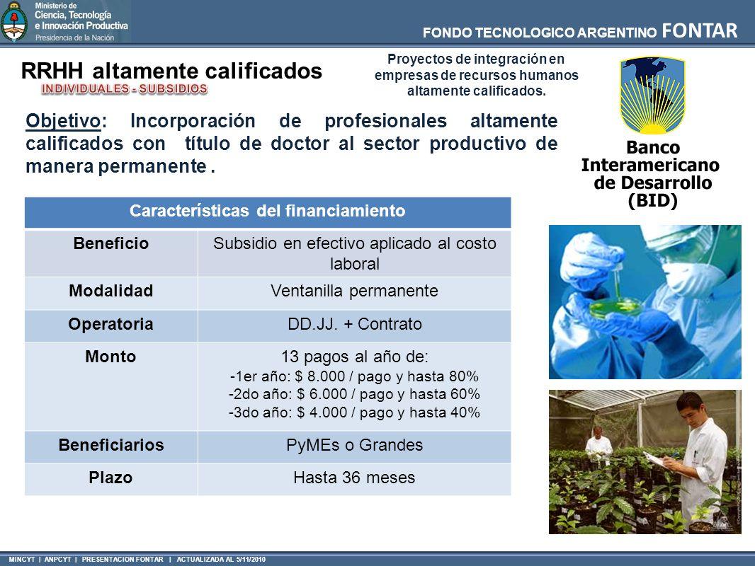 MINCYT | ANPCYT | PRESENTACION FONTAR | ACTUALIZADA AL 5/11/2010 FONDO TECNOLOGICO ARGENTINO FONTAR Características del financiamiento BeneficioSubsidio en efectivo aplicado al costo laboral ModalidadVentanilla permanente OperatoriaDD.JJ.