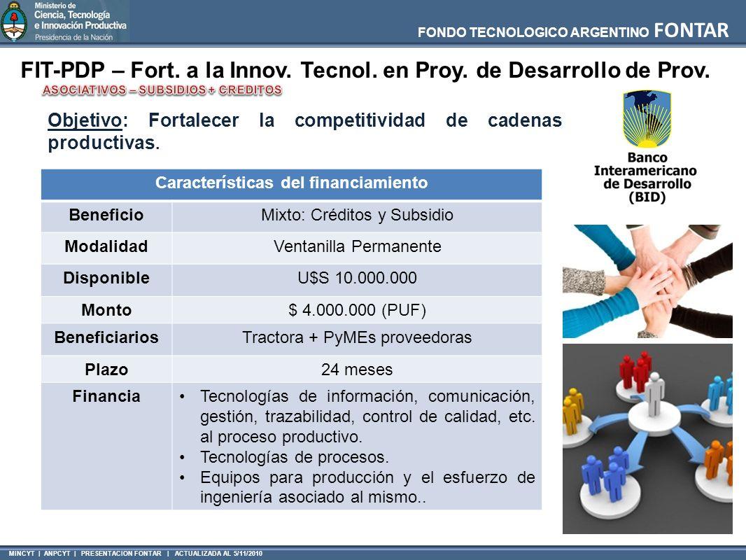 MINCYT | ANPCYT | PRESENTACION FONTAR | ACTUALIZADA AL 5/11/2010 FONDO TECNOLOGICO ARGENTINO FONTAR FIT-PDP – Fort. a la Innov. Tecnol. en Proy. de De