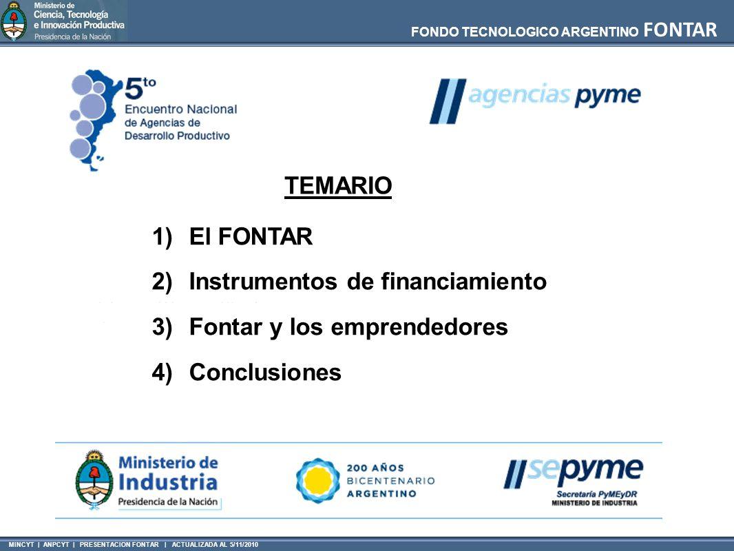 MINCYT | ANPCYT | PRESENTACION FONTAR | ACTUALIZADA AL 5/11/2010 FONDO TECNOLOGICO ARGENTINO FONTAR TEMARIO 1)El FONTAR 2)Instrumentos de financiamiento 3)Fontar y los emprendedores 4)Conclusiones