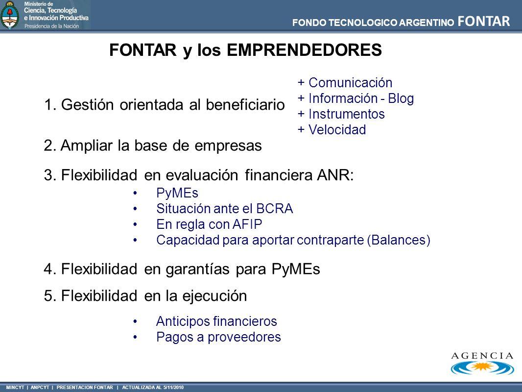 MINCYT | ANPCYT | PRESENTACION FONTAR | ACTUALIZADA AL 5/11/2010 FONDO TECNOLOGICO ARGENTINO FONTAR FONTAR y los EMPRENDEDORES 2. Ampliar la base de e