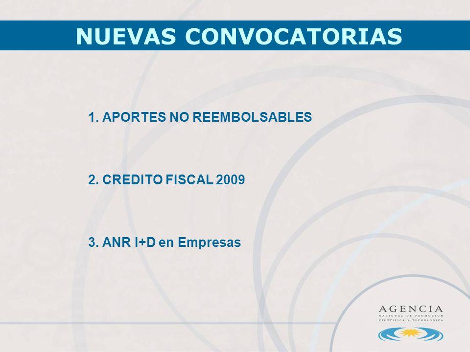 1. APORTES NO REEMBOLSABLES 2. CREDITO FISCAL 2009 3. ANR I+D en Empresas NUEVAS CONVOCATORIAS