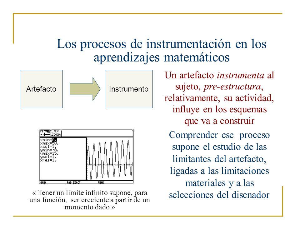 Analizar las limitaciones de los artefactos Debe tomar en cuenta la transposición informática : « Es el trabajo sobre el conocimiento que permite una representación simbólica y la aplicación por un dispositivo informático » (Balacheff 1994) Debe analizar las limitaciones : - limitaciones internas ; - limitaciones de comando ; - limitaciones de organización (cf.