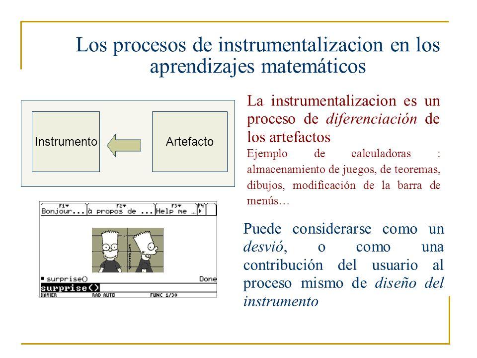 Hacia sistemas de instrumentos Esquemas sociales Los esquemas se construyen con frecuencia en varios ambientes a considerar (la clase, los compañeros…) Artefactos y instrumentos 1 artefacto 1 instrumento .