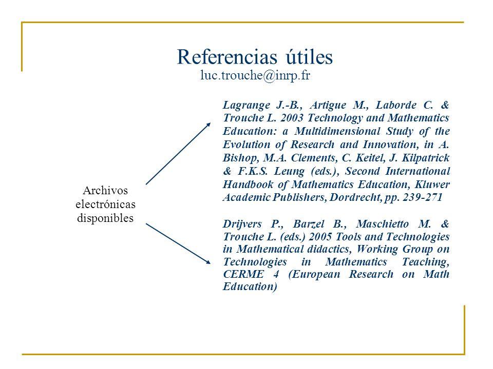 Desde los artefactos hasta los instrumentos del trabajo matemático Luc Trouche luc.trouche@inrp.fr Universités Montpellier-Lyon, France Primer seminario internacional de tecnologías en educación matemática 20 a 23 de julio de 2005, Universidad Pedagógica Nacional, Bogota Una pregunta clave para el acompañamiento de los profesores, es la de los recursos pedagógicos