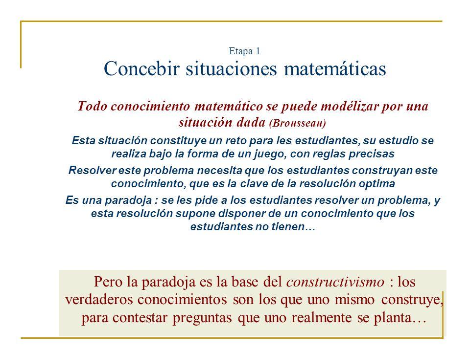 Etapa 1 Concebir situaciones matemáticas, un ejemplo para la proporcionalidad La situación : construir un nuevo rompe- cabeza, similar a este, con AB = 5 cm Primera idea : añadir 2 cm a todas las dimensionas… Resultado : malo, el rompe-cabeza … ya no es uno..