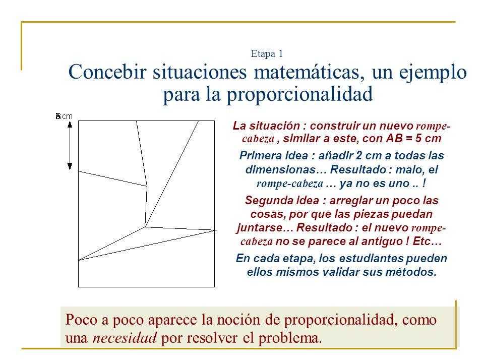 Etapa 1 Concebir situaciones en entornos informatizados… Hay que concebir de ahora en adelante situaciones que tenga en cuenta dos elementos : el conocimiento matemático buscado ; las limitaciones y las potencialitas del software utilizado.
