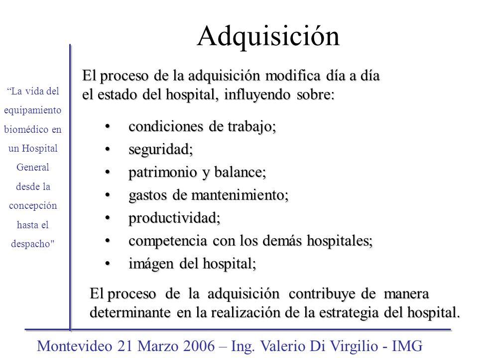 El proceso de la adquisición modifica día a día el estado del hospital, influyendo sobre: La vida del equipamiento biomédico en un Hospital General de
