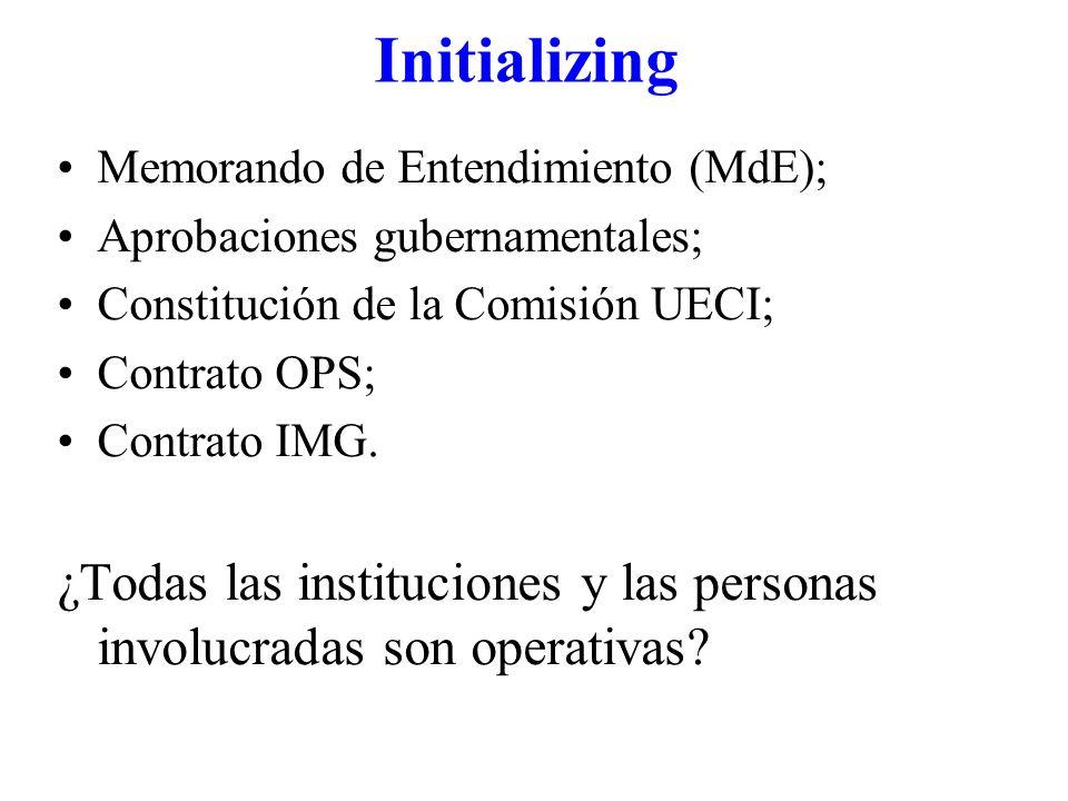 Initializing Memorando de Entendimiento (MdE); Aprobaciones gubernamentales; Constitución de la Comisión UECI; Contrato OPS; Contrato IMG. ¿Todas las