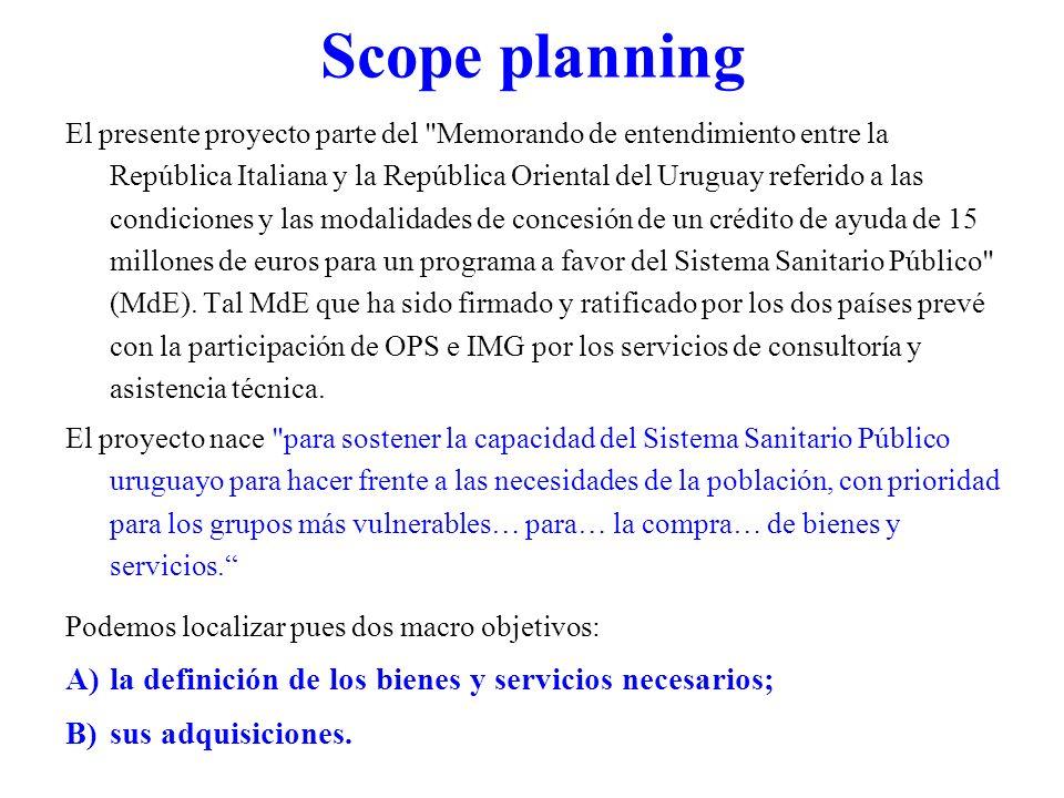 Scope planning El presente proyecto parte del