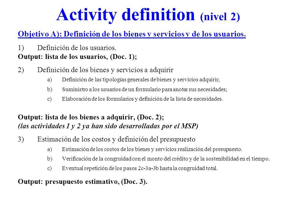 Activity definition (nivel 2) Objetivo A): Definición de los bienes y servicios y de los usuarios. 1)Definición de los usuarios. Output: lista de los