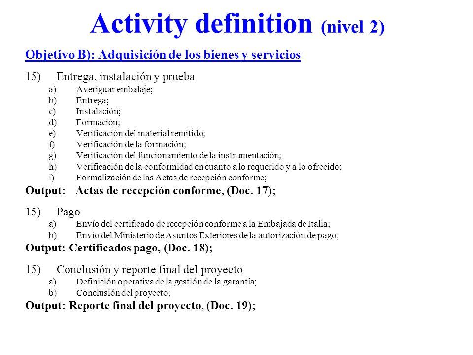 Activity definition (nivel 2) Objetivo B): Adquisición de los bienes y servicios 15)Entrega, instalación y prueba a)Averiguar embalaje; b)Entrega; c)I
