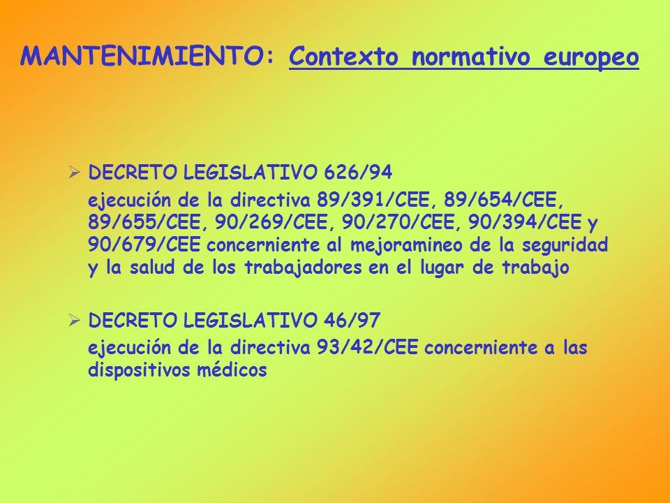 MANTENIMIENTO: Contexto normativo europeo DECRETO LEGISLATIVO 626/94 ejecución de la directiva 89/391/CEE, 89/654/CEE, 89/655/CEE, 90/269/CEE, 90/270/