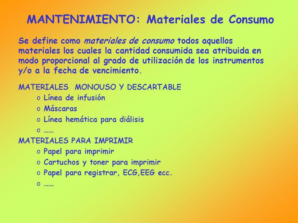 MANTENIMIENTO: Materiales de Consumo Se define como materiales de consumo todos aquellos materiales los cuales la cantidad consumida sea atribuida en