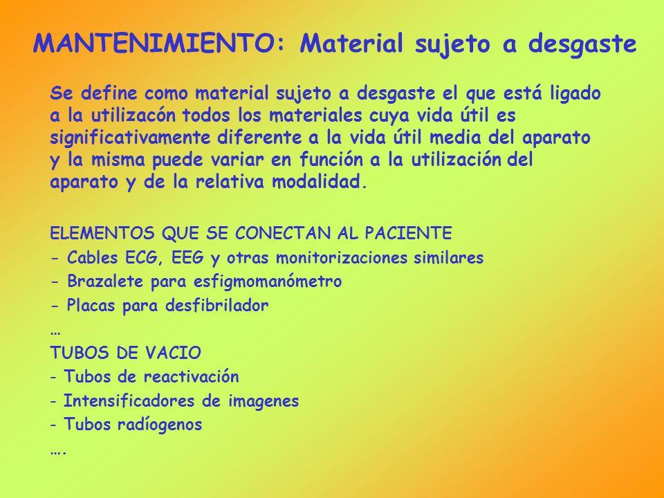 MANTENIMIENTO: Material sujeto a desgaste Se define como material sujeto a desgaste el que está ligado a la utilizacón todos los materiales cuya vida