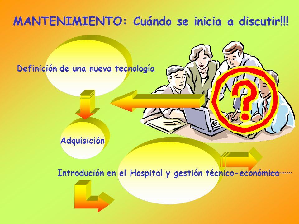 MANTENIMIENTO: Cuándo se inicia a discutir!!! Definición de una nueva tecnología Adquisición Introdución en el Hospital y gestión técnico-económica ……