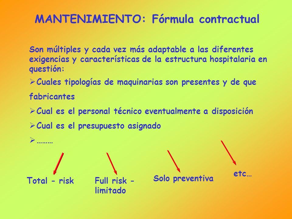 MANTENIMIENTO: Fórmula contractual Son múltiples y cada vez más adaptable a las diferentes exigencias y características de la estructura hospitalaria
