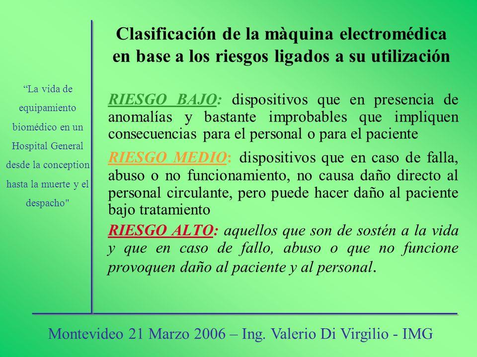 Clasificación de la màquina electromédica en base a los riesgos ligados a su utilización RIESGO BAJO: dispositivos que en presencia de anomalías y bas